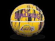 斯伯丁NBA湖人队徽大理石印花7号室外橡胶篮球84-095Y