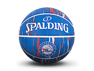 斯伯丁NBA 76人队徽大理石印花7号室外橡胶篮球84-149Y