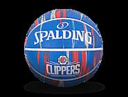 斯伯丁NBA快船队徽大理石印花7号室外橡胶篮球84-135Y